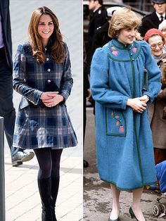 COAT CHECK . . . One thing that's on the up since Diana's pregnancy with William?  Hemlines!  The princess's embellished blue coat could pass for a Snuggie (did they have those in the '80s?) compared to the Duchess's plaid Moloh coat dress, paired with her trademark black suede boots for an April 4 outing in Scotland.