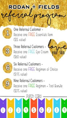 Business card sized digital print for Rodan + Fields referral program! Build your businesses through referred customers. Hand out to friends or include in shipments!