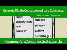 Aula 3 - Entrada em Vigor de Nova Constituição - http://resumosparaconcursosgratis.com.br/direito-constitucional-para-concurso/nova-constituicao/