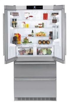 Liebherr 36 Inch Energy Star Rated Freestanding French Door Refrigerator with cu. Total Capacity, IceMaker, DuoCooling, and 2 Glass Refrigerator Shelves, in Stainless Steel American Fridge Freezers, American Style Fridge Freezer, Refrigerator Freezer, French Door Refrigerator, Conservation, Freestanding Fridge, Glass Shelves, French Doors, Bathroom Medicine Cabinet