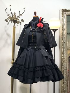 Gothic Lolita Poncho Black Cotton Blend Grommets Lolita Outwears – MY World Gothic Lolita Dress, Gothic Lolita Fashion, Lolita Style, Steampunk Fashion, Gothic Steampunk, Victorian Gothic, Old Fashion Dresses, Fashion Outfits, Pretty Outfits