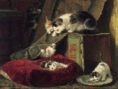Henriette Ronner-Knip (Dutch, 1821-1909)  Hide and seek  signed 'Henriette Ronner' (lower left)  oil on panel  127/8 x 17¾ in. (32.8 x 45 cm.) private collection