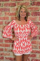 Coral Tribal Bell Sleeve Top