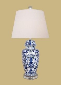 Beautiful Blue And White Porcelain Temple Jar Fl Chinoiserie Table Lamp 27