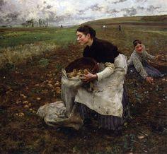 """Jules Bastien-Lepage (Jules Bastien Lepage) (1848-1884)  Saison d'Octobre: Recolte des pommes de terre  Oil on canvas  -1879  195.58 x 180.34 cm  (6' 5"""" x 5' 11"""")"""