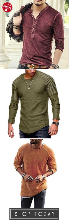 Men's Casual Long Sleeve Cotton Vintage T Shirt Pullover,Men's Striped Fold Raglan Long-sleeved T-shirt,Fashion Men's Knitting Solid Color O-Neck T-shirt - pinnere Sharp Dressed Man, Well Dressed Men, Vintage T-shirts, Fashion Vintage, Mature Fashion, Denim Jacket Men, Men Looks, Mens Clothing Styles, Comfortable Outfits