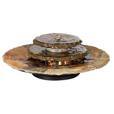"Slate Rounds 17 1/2"" Wide Lighted Table Fountain - Style # 14041"
