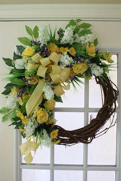 Summer Wreath-Front Door Wreath-Country by LauraMeyerDesigns