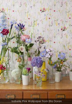 Isabelle Pink Wallpaper from Ella Doran