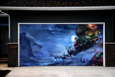 Amazon.com - Christmas Garage Door Covers 3d Banners Holiday Outside Decorations Outdoor Santa Claus Decor for Garage Door GD22 -