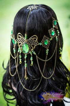 Emerald Butterfly Dreams Bridal Circlet by BlingGoddessBoutique