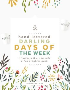 With over 90+ bonus elements and decorative doodles, there are plenty of designs for creating pretty daily stickers, labels, calendars, notepads, shirts, and the hand lettered days of the week would make cute social posts too! Some of the individual elements are leaves, flowers, floral stems, dotted clusters, envelope doodle, sun and clouds, fun glasses, and hand drawn accents.