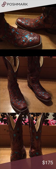 Women's Corral Boots 11 GORGEOUS pair of Women's Corral Boots size 11 & square toe. These are a Brushed Brown with TURQUOISE inlay in a Oak Leaf pattern that is also still visible on the sole. Really like these but too nice for everyday riding & I'm wanting more of a square toe. Corral Shoes Heeled Boots