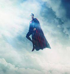 Flying floating sky superman man of steel fan art illustration artworks
