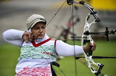 Somayeh Abbaspour of Iran competes against Mi-Soon KIM of Korea at the Women's Archery Individual Compound Bronze Medal competition during day 9 of the Rio 2016 Paralympic Games at Sambodromo on September 16, 2016 in Rio de Janeiro, Brazil.