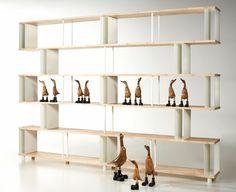 Libreria Componibile SKAFFA LEGNO Massiccio RANDOM Modulare a parete Design mensole scaffali legno massello a giorno cm. H 211 X 300: Amazon...