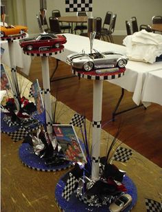 Car racing theme centerpieces4. 75th Birthday Parties, Car Themed Parties, Race Car Birthday, Dad Birthday, 50th Party, Nascar Party, Race Car Party, Car Centerpieces, Dirt Bike Party