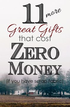 Just because money is tight doesn't mean you can't have a great Christmas! Great gifts that cost ZERO MONEY to make from fabric scraps items!