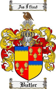 butler crest   Butler Coat of Arms Butler Family Crest Instant Download