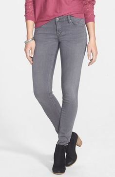 Vigoss Destroyed Skinny Jeans (Medium) (Juniors) available at Shoes For Skinny Jeans, Grey Skinny Jeans, Jeans Brands, Capsule Wardrobe, Autumn Winter Fashion, Denim Jeans, Jeans Size, High Waisted Skirt, Nordstrom
