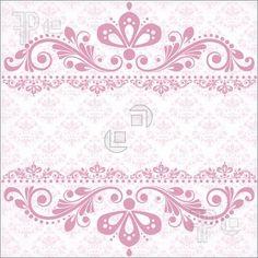 Illustration of Elegant vintage damask vector invitation template