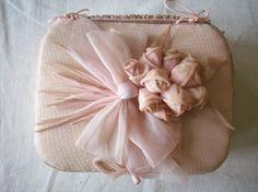 Antique french pink ribbonwork box 1920s