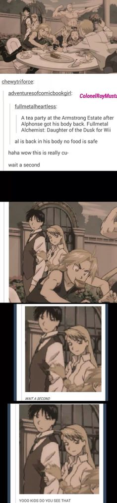 Look at Roy Mustang and Riza Hawkeye! She is holding his arm! Oh yeah! HAHAHHA this comment tho