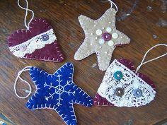 Wool Felt Ornaments- Primitive Hearts and Stars. $18.00, via Etsy.