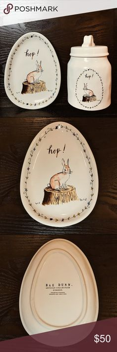 Rae Dunn Easter Bunny Hop! Set (Plate + Canister) New Rae Dunn! Easter Style — Featuring cute bunny rabbit featured on both pieces! May get hot in Microwave - dishwasher safe Open to all offers!! Rae Dunn Other