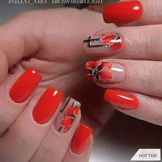 Make an original manicure for Valentine's Day - My Nails Red Nail Art, Red Nails, Cute Nails, Pretty Nails, Red Nail Designs, Flower Nails, Nail Decorations, Beautiful Nail Art, Gel Manicure