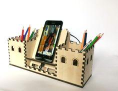 decorative phone charging station wood desk by OlaDiClock on Etsy