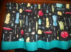 Retro Vintage Kitchen Appliances Baking Dark by yoursewingroom Retro Curtains, Vintage Curtains, Teal Fabric, Polka Dot Fabric, Vintage Kitchen Appliances, Kitchen Retro, Elegant Bridal Shower, Free Fabric Samples