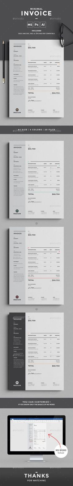 This professional minimal Invoice template will help you in your business to save time, organize you product data and customers info and easily generate the invoice by inserting the costumers ID and Item. It is designed for personal and corporate use.
