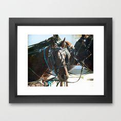 A Town Hall Meeting, Amish Horses  Framed Art Print by Angelandspot - $31.00
