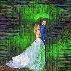 Custom size Wedding Portrait Painting from photo to canvas - LooK !!