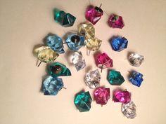 Decorative Colored Push Pins, 15 Sparkle Gem PushPins, Office Decor ,Thumb Tacks, Office Supplies, Cork Board Colorful