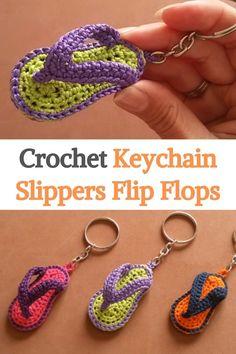 Crochet Keychain Pattern, Crochet Amigurumi Free Patterns, Christmas Crochet Patterns, Crochet Ideas, Crochet Projects, Fast Crochet, Crochet Yarn, Crochet Toys, Crochet Flip Flops