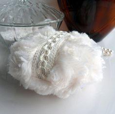 BODY POWDER PUFF  Creamy Ivory  creme blanc powderpuff #powderpuff #puffs #boudoir #vintagestyle