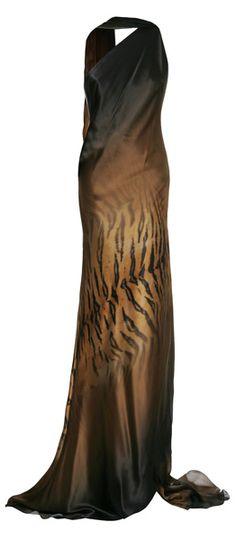 Roberto Cavalli Dégradé Tiger Print Silk One Shoulder Gown