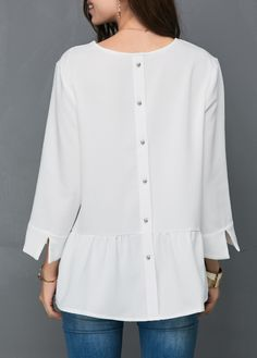 Button Back V Neck White Blouse | modlily.com - USD $26.15