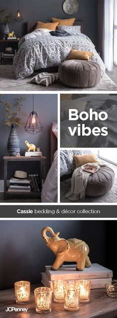 Taking inspiration from around the globe, this travel-inspired bedding collection features rich textures and beautifully detailed patterns, highlighted with eye-catching accessories. Oversized gold throw pillows stand out against a soft blue-gray bedsprea Cozy Bedroom, Trendy Bedroom, Bedroom Ideas, Bedroom Bed, Blue Bedroom Decor, Bedroom Ceiling, Bedroom Storage, Bedrooms, Minimalist Bedroom