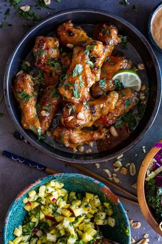 Thai Peanut Chicken Wings with Fiery Pineapple-Jalapeño Salsa