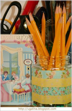 Washi Tape on a food jar (hold makeup brushes, pencils, spoons....)