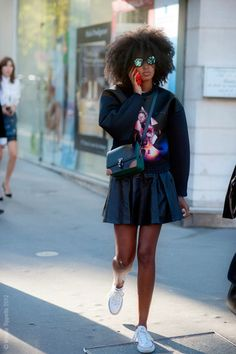 julia sarr-jamois- rocking a sweater in a reallly cute way.  bravo.