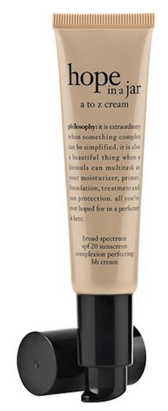 Philosophy - hope in a jar - a to z cream - acts as primer, moisturizer, foundation, SPF & hint of color http://rstyle.me/n/qufkmnyg6