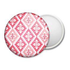 """Badge miroir """"Origami"""" losange fleur de lys avec 2 teintes de rose."""