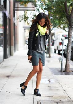 Motorcycle jacket, polka dot skirt and neon pop