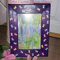 ♥♥ Custom Designed Solid Oak Pretty Purple Butterfly Photo Frame ♥♥