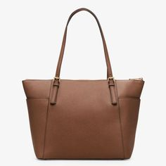MICHAEL Michael Kors Jet Set Large Top-Zip Saffiano Leather Tote Brown