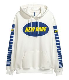 Printed Hooded Sweatshirt | White/New Rave | MEN | H&M US